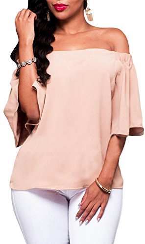 Anmengte Women Off Shoulder Half Sleeves Blouse Top (S, pink)
