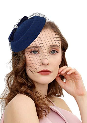 Vintage Fascinators 20s 50s Hat Pillbox Hat Cocktail Party Hat with Veil Hair Clip(C-Navy Blue)