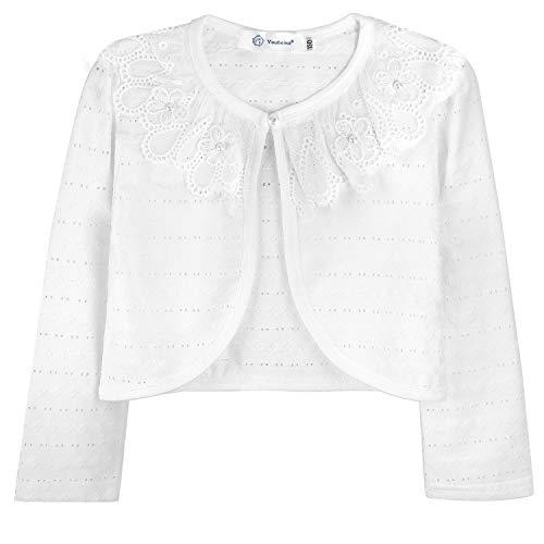 Acecharming Girls' Long Sleeve White Bolero Cardigan Shrug Lace Flower Beaded Jacket Dress Cover Up