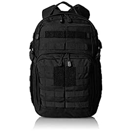5.11 Tactical Military Backpack - RUSH12 - Molle Bag Rucksack Pack, 24 Liter Small, Style 56892 3 Military backpack features 16 individual compartments, MOLLE ready with roomy main storage area and hydration pocket. Adjustable height sternum strap, two external compression straps and contoured yoke shoulder strap system. The 5.11 RUSH12 Bug out Rucksack is a water-resistant backpack made with durable 1050D nylon (Multicar: 1000D nylon) and self-repairing YKK zippers. This military style tactical pack is built to last. Molle bag features wrap-around molle/5. 11 slick stick web platform, internal multi-slot admin compartment and zippered fleece-lined eyewear pocket. Compatible with 5.11's TIER system and the Rush Tier Rifle Sleeve.