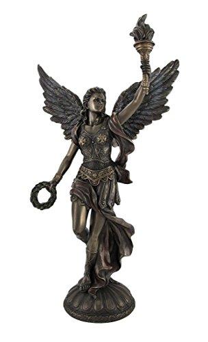 (Veronese Design Bronzed Nike Goddess of Victory Raising Torch Statue)