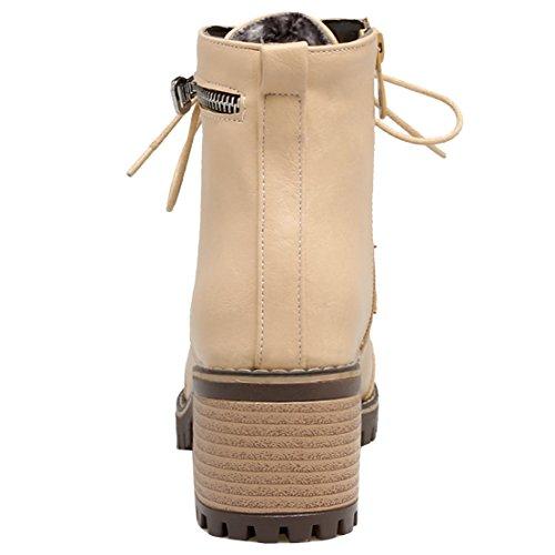AIYOUMEI Damen Herbst Winter Stiefeletten mit Schnürung und 6cm Absatz Kurzschaft Schnürstiefel Schuhe Aprikose