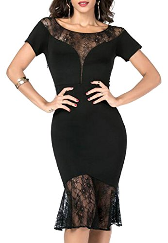 Dresses Women Jaycargogo Lace Slim Stitching Black Fit Bodycon Sexy Mermaid 88xqdr