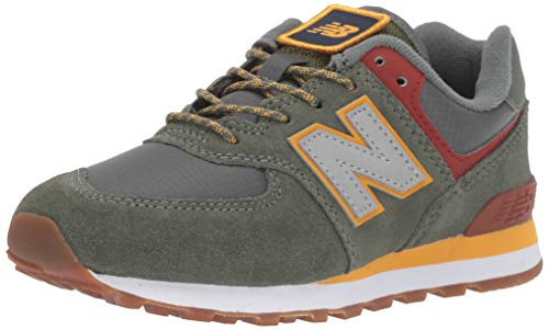 New Balance Boys 574v1 Lace-Up Sneaker, Slate Green/Red, 3 D M US Toddler (1-4 Years) (Shoes New Balance For Boys)