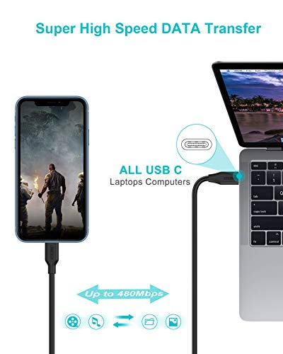 CHOETECH USB C to Lightning Cable [6.6Ft Apple MFi Certified] Compatible with iPhone 11/11 Pro/11 Pro Max/X/XS/XR/XS Max/8/8 Plus/iPad, Supports Power Delivery (Use with Type C Chargers)