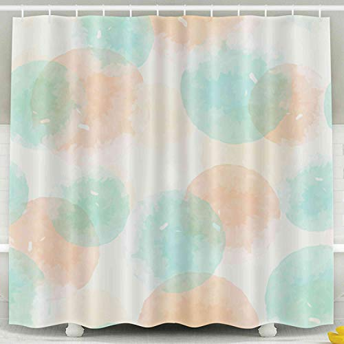 (Shorping 78x72 Shower Curtain,Kids Shower Curtain, Abstract Geometric Pattern Watercolor Yellow Orange Mint Circles Modern Abstract Paper Fabric Interior Waterproof Decor Bathroom Set with Hooks)