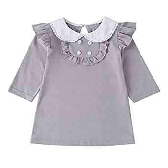 Xifamniy Infant Girls Long Sleeve Dresses Solid Color Doll Collar Fashion Straight Skirt Gray