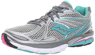 Saucony Women's Hurricane 15 Running Shoe,Silver/Green/Pink,5 M US