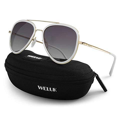 e52dd4587d WELUK Large Gradient Aviator Sunglasses Polarized Mens Womens Metal Frame