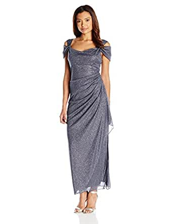 Alex Evenings Women's Long Dress with Side-Ruched Skirt, Smoke, 4 Petite