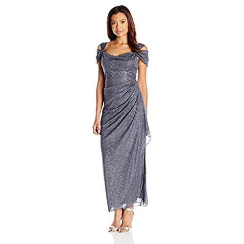 Alex Evenings Womens Long Cold Shoulder Dress With Side Ruched Skirt (Regular Sizes), Smoke, 14 Petite