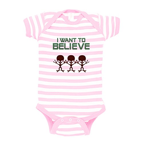 I Want To Believe Alien Baby Kid Stripe Fine Jersey Bodysuit Soft Pink 24 Months
