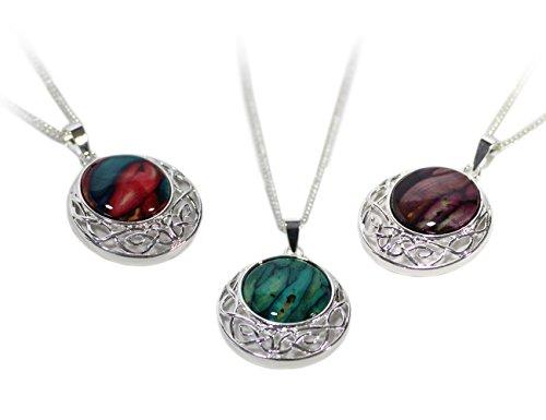 (Heathergems Silver Plated Scottish Pendant Necklace Celtic Weave Design 18
