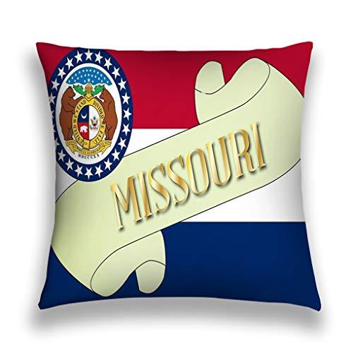 zexuandiy Throw Pillows Stylish Chic Pillowcases Zippered 18X18 Inch Scroll Text Missouri Flag State Detail Missouri Flag Scroll
