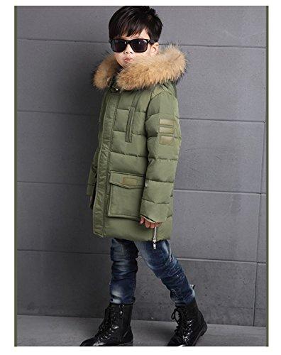 Menschwear Boy's Down Fur Hooded Jacket Winter Warm Outwear Winter Coat (150,Green) by Menschwear (Image #4)