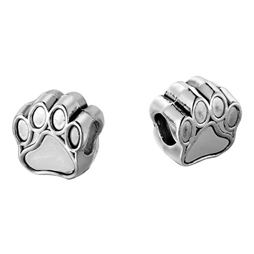 Silver Dog Beads - 30pcs Pet Dog Puppy Paw Print Metal Bead Fit Charm Necklace Bracelet Antique Silver 11x11mm