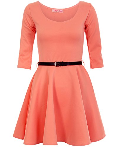 Flare Mini Sleeves and Belted 4 Fit 3 KRISP Dress Womens Skater Coral wq0CCRz