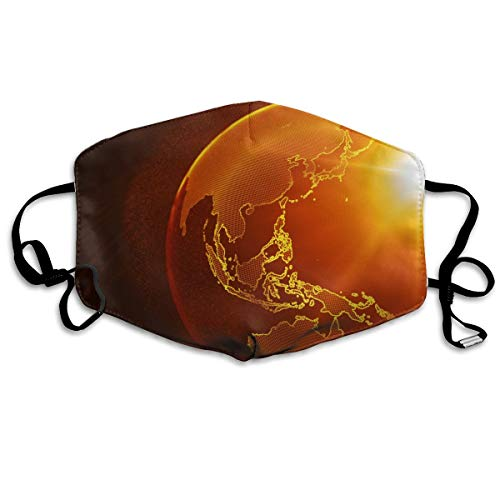 Hongao Anti Dust Pollution Mask Globe Planet Reusable Washable Earloop Face Mouth Mask for Men Women ()