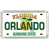 """Orlando Florida License Plate Acrylic Small Fridge Collector's Souvenir Magnet 2"""" X 1.25"""""""