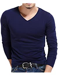 Men's Casual Solid Color Long Sleeve V-Neck T-Shirt