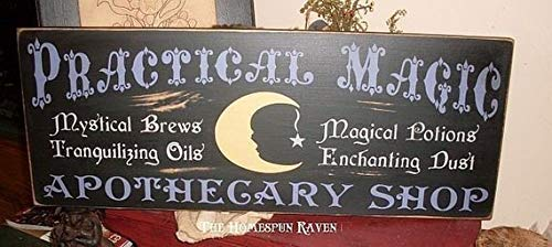 Funlaugh The Practical Magic Apothecary Shoppe Primitive Handpainted Halloween Plaque Wood Signs for Home Decor Quote Garden Plaque Sign