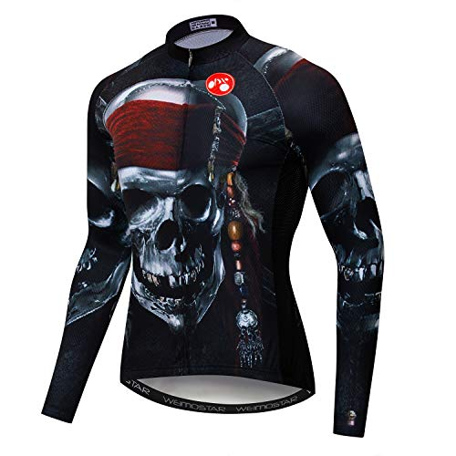 - Weimostar Men's Cycling Jersey Long Sleeve Biking Shirts Bike Clothing Bicycle Jacket Pockets Breathable Pirate Skull Black Size XL