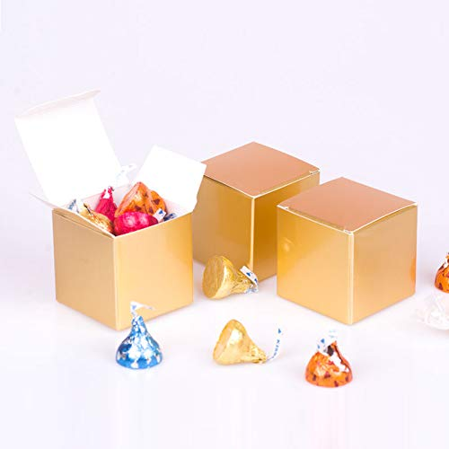 Candy Box small Gold Gift box 2 x 2 x 2 inch,Square paper treat box Party Favor Box for Wedding,Bridal Shower,Birthday,Baby Shower,Anniversary,holiday celebration party supplies decorations,50pcs