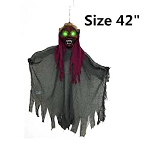 "BIG & SCARY Hanging Witch W/ Glowing Eyes 42"" For Parties & Outdoors Halloween"