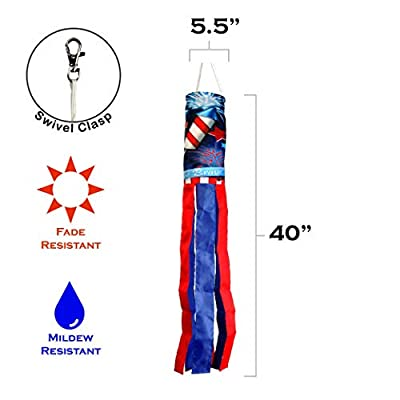 Toland Home Garden 162518 Home of The Brave Decorative Windsock, Multicolor : Garden & Outdoor