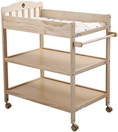 ベビーおむつテーブル 車輪が付いている赤ん坊のおむつ替え台、木製のおむつの場所、保育園の女の子/男の子/幼児のための多機能の普遍的な浴場