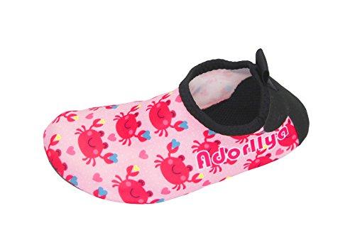 Adorllya Water Shoes Aqua Socks Water Socks Swim Shoes for Kids Toddlers Boys Girls,Pink Crab