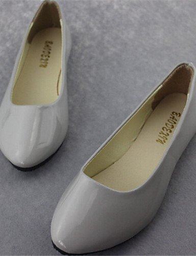 Grigio beige Ballerine Scarpe ShangYi Finta Nero Beige Punta arrotondata Piatto Casual Bianco Donna Blu pelle 7aww6Wqp