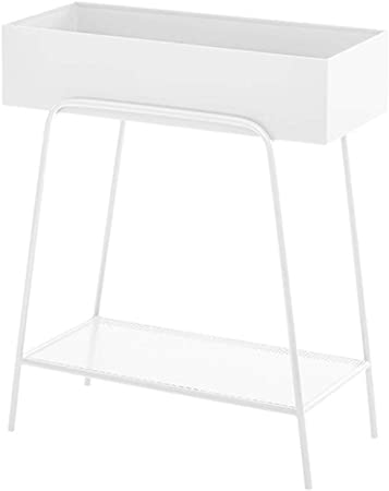 Amazon Com Wrought Iron Plant Stand Indoor Outdoor Raised Rectangular Flower Stands Elevated Flower Pot Stand Holder With Shelf White Metal Plant Shelf Kitchen Dining