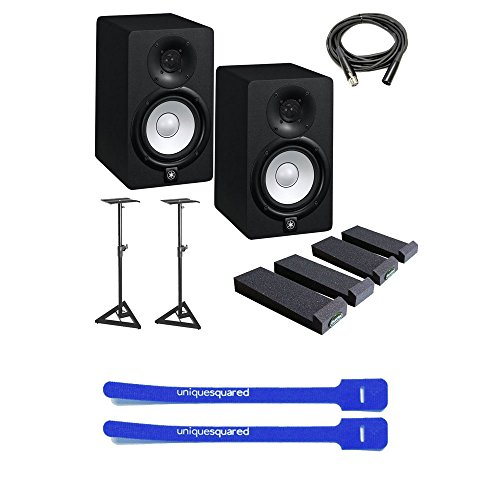 Yamaha HS5 5-Inch Powered Studio Monitor w/ Stands, Auralex MoPads, XLR Cable & Cable Ties