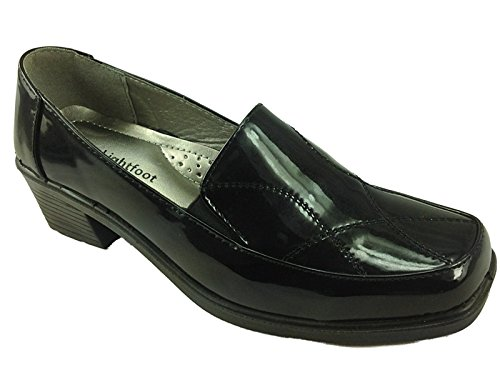 Smart black Ladies Loafer Faux Black Office School Shoes Pat 8224 Leather DrLightfoot Work Casual wBxBIRAp
