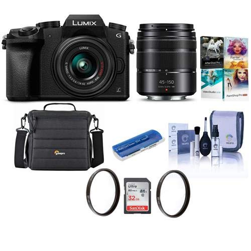 Panasonic Lumix DMC-G7 Mirrorless Camera with Lumix G Vario 14-42mm and 45-150mm Lenses Lens, Black - Bundle with Camera Case, 32GB SDHC Card, 46mm/52mm UV Filters, Pc Software Pack and More