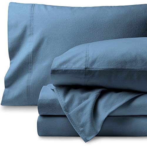 Extra Flannel Twin Sheets Long - Bare Home Flannel Sheet Set 100% Cotton, Velvety Soft Heavyweight - Double Brushed Flannel - Deep Pocket (Twin XL, Coronet Blue)