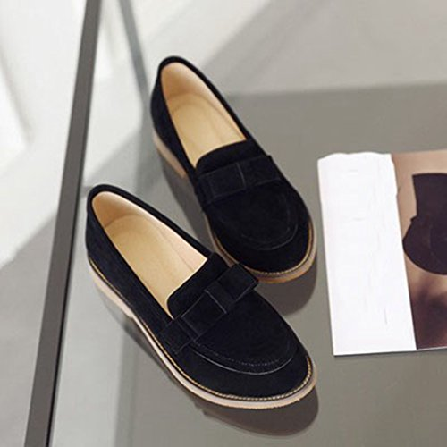 Giy Femmes Daim Penny Loafer Confort Bout Rond Slip-on Talons Bas Bowknot Robe Casual Mocassins Chaussures Noir