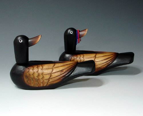 Traditional Carved Wedding Wooden Duck