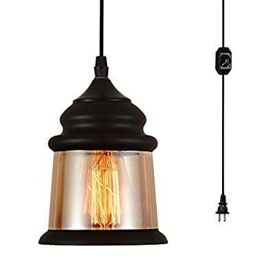 HMVPL Antique Glass Pendant Ceiling Lights with 16.4 Ft Plug in Cord and On/Off Dimmer Switch, Updated Industrial Edison Vintage Swag Hanging Lamps for Kitchen Island Dining Room or Living Room