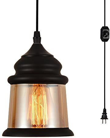 HMVPL Plug in Glass Pendant Ceiling Lights with 16.4 Ft Cord and On Off Dimmer Switch, Vintage Antique Edison Swag Hanging Lamps Industrial Lighting Fixture for Kitchen Island Dining Table Bedroom