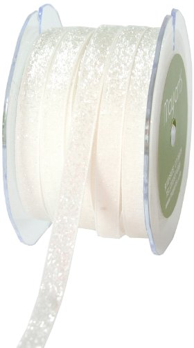 May Arts 3/8-Inch Wide Ribbon, White Metallic Velvet by May Arts