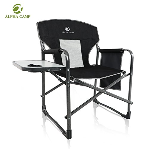 ALPHA CAMP Heavy Duty Folding Chair Oversized Director's Chair with Mesh High Back and Side Table , Supports 300 lbs - Black