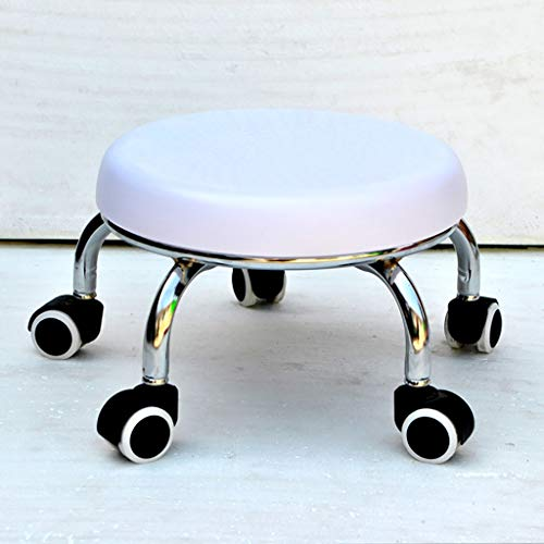 Lwjjby Small Stool, with Wheels Round Stool, Mobile with Pulley - for Mobile Footstool Children's Stool (Color : D)
