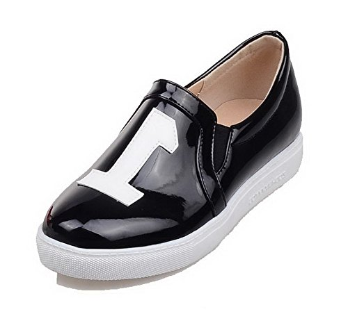 VogueZone009 Women's Assorted Color Patent Leather Low-Heels Pull-On Pumps-Shoes Black