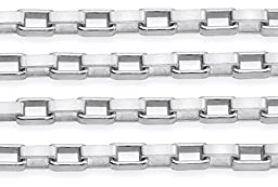 10 Feet Sterling Silver Box Chain 1.1x2.1 mm For Diy Beading Arts and Crafts