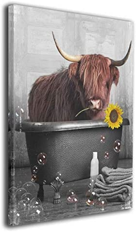 HANKCLES Cow and Sunflower Wall Art Funny Animals Framed Contemporary Wall Art Canvas Giclee Matte Prints Painting 16x20inch Home Decor