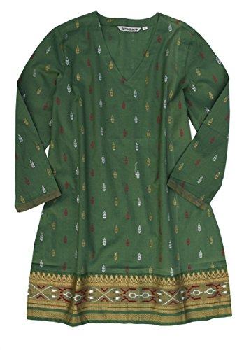 Ayurvastram KRITI Hand Block Printed Cotton V Neck Tunic: Gold/Silver on Green L