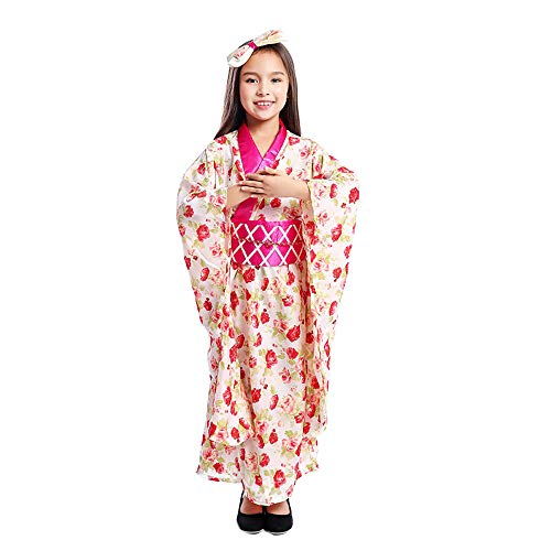 Girl Kimono Dress Japanese Floaral Dress Robe Child Geisha Cosplay Vintage Asia Yukata Kids Costumes (Japanese Kimono, M)