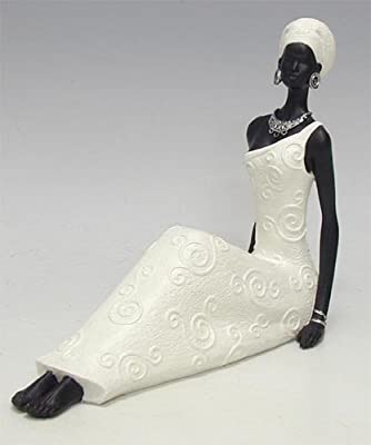 StealStreet SS-UG-JW-0020 Resting African Tribal Lady In White Dress Collectible Figurine Statue